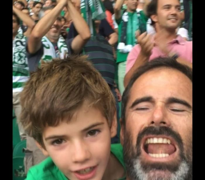 Pedro Lima festejou com o filho em Alvalade