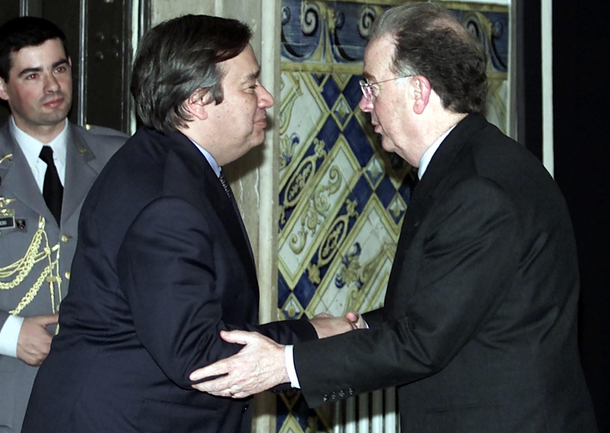 António Guterres despede-se de Jorge Sampaio