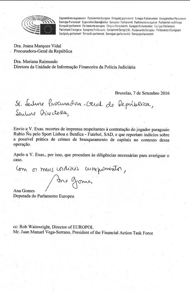 Carta de Ana Gomes à PJ e PGR
