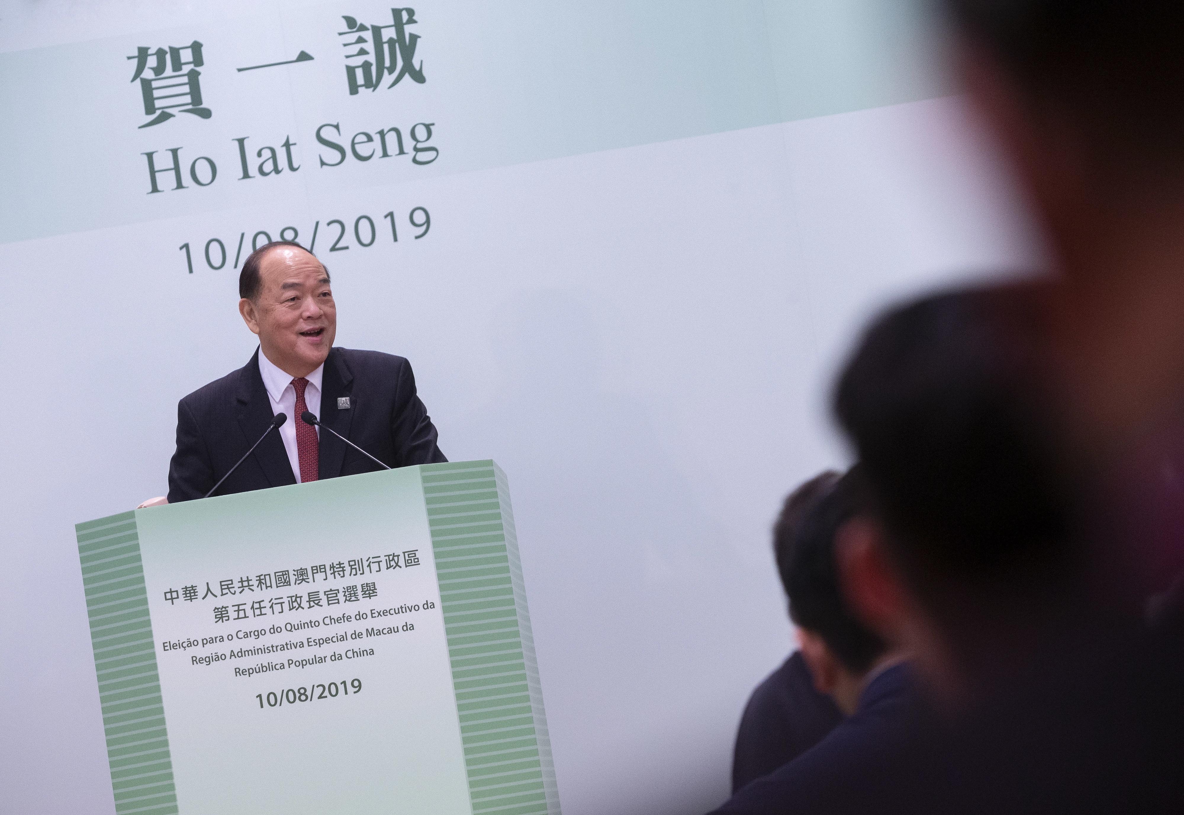 Ho Iat Seng eleito novo chefe do Governo de Macau