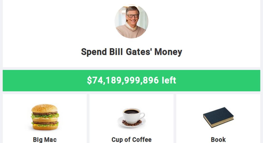 Gasta o dinheiro de Bill Gates: uma perspectiva interactiva sobre a fortuna do homem mais rico do mundo