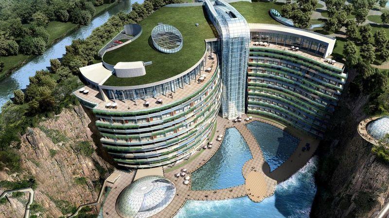 China vai abrir o primeiro hotel subterrâneo dentro de uma pedreira abandonada
