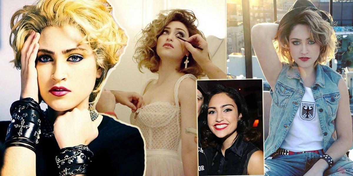 Parece Madonna no início da carreira mas é Jamie Auld. Atriz desconhecida é sósia da cantora