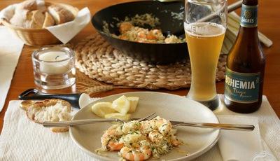 Arroz basmati com camarão e manteiga de alho