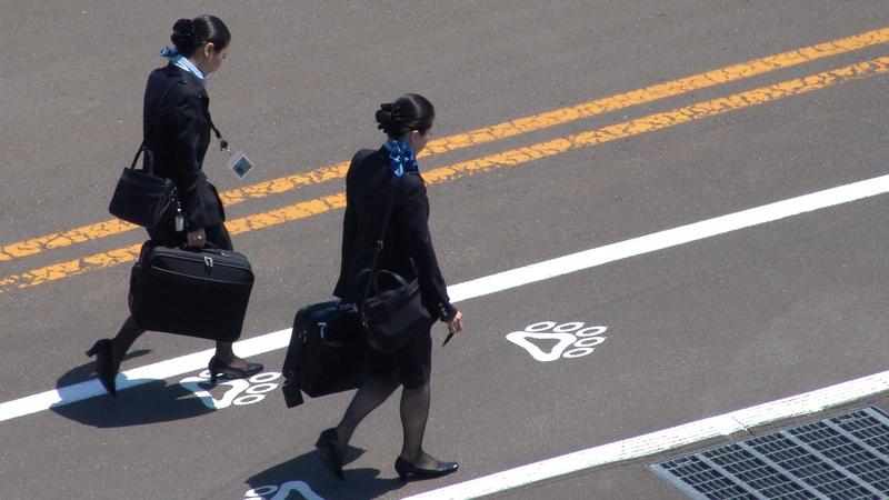 No que as comissárias de bordo reparam quando entra no avião