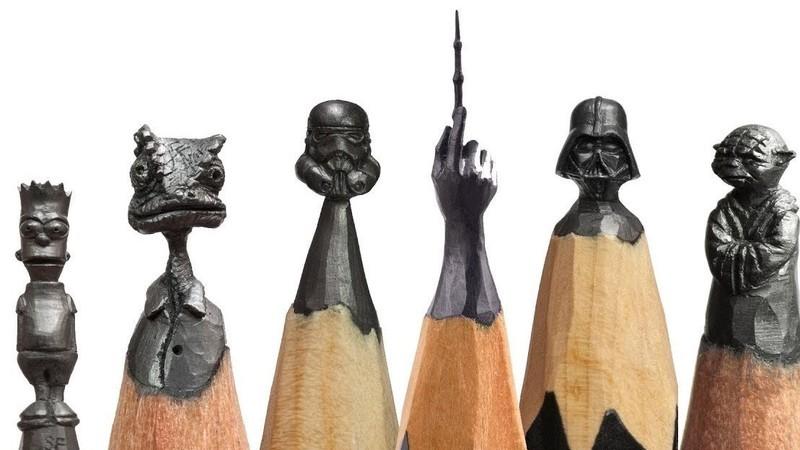 Russo esculpe com grande pormenor em pontas de lápis de grafite