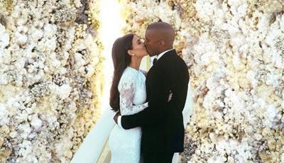 Kim Kardashian celebra quatro anos de casamento com foto inédita