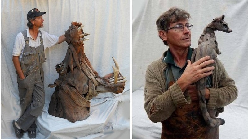 Tony Frederiksson ama a natureza e demonstra-o nos seus animais em madeiras recicladas