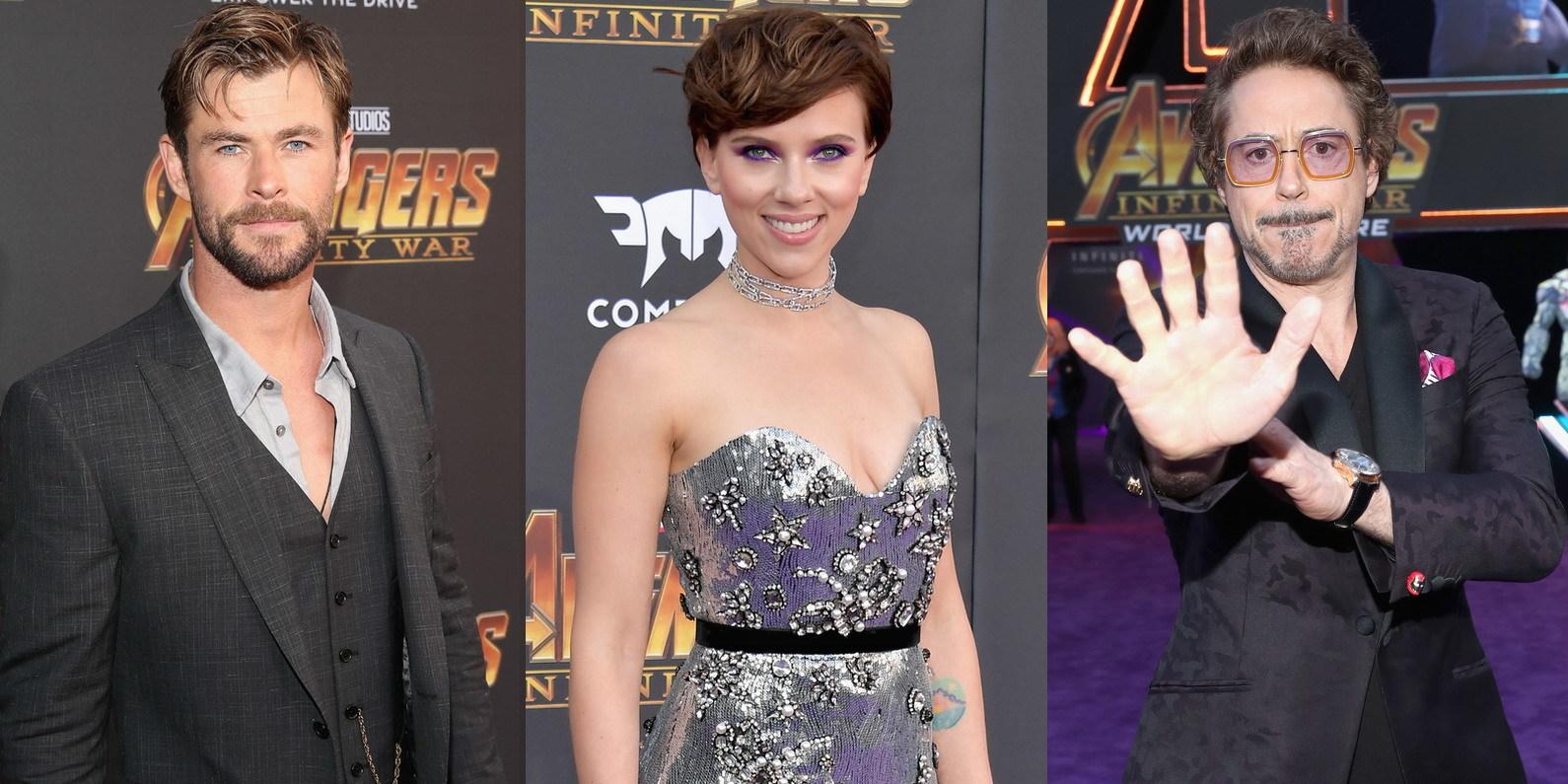 """De Chris Hemsworth a Scarlett Johansson: estrelas de """"Vingadores"""" reúnem equipa na passadeira vermelha"""