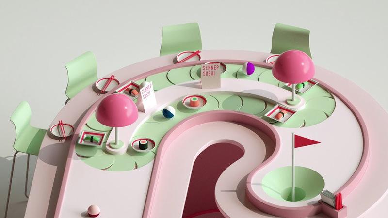 Alphaputt é um jogo de minigolfe com circuitos extravagantes