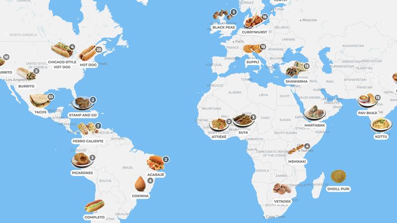 """Este mapa interativo mostra o melhor da """"street food"""" à volta do mundo"""