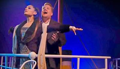"Ariana Grande e James Corden recriam ""Titanic"" com banda sonora alternativa"