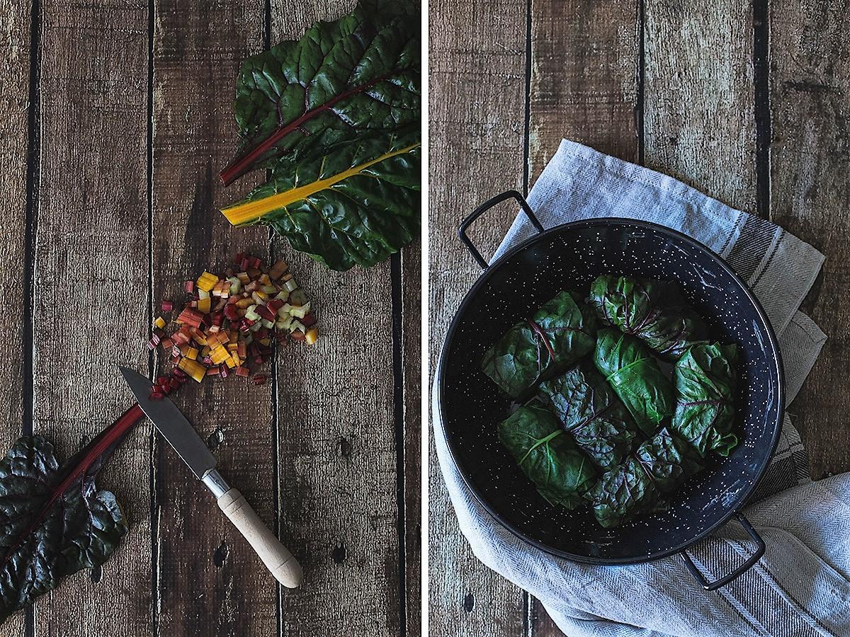 Rolinhos de acelga recheados com carne picada e arroz