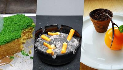 Comer uma esponja, cigarros ou um vaso? Estas sobremesas não são o que parecem