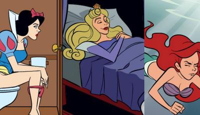 Como são as princesas da Disney na casa de banho?