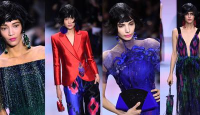 Verde, azul, vermelho e fúcsia. O jogo de cores no desfile de Alta-Costura de Armani Privé