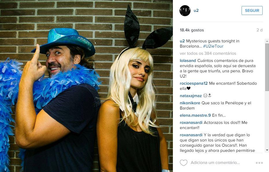 Penélope Cruz e Javier Bardem, são estrelas dos U2