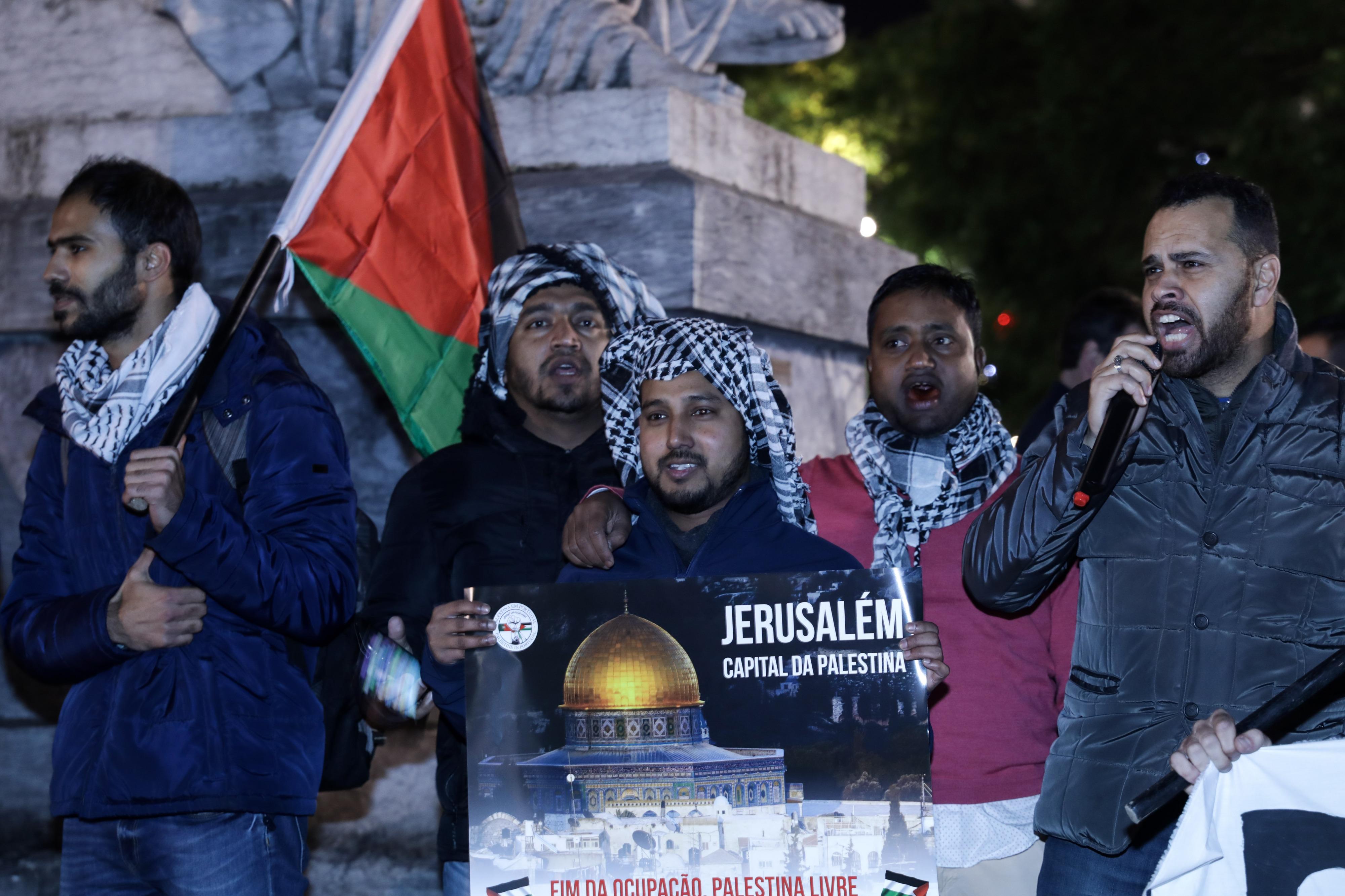 Palestinianos em Lisboa apelam para solidariedade dos portugueses contra Trump