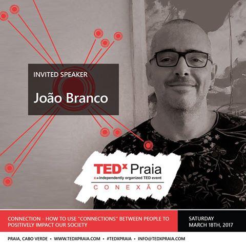 João Branco é o segundo orador anunciado do TEDx Praia