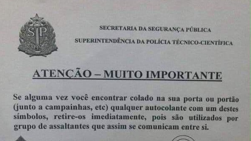 Verdadeiro ou falso: a PSP emitiu um aviso sobre símbolos colados nas portas de casas por grupos de assaltantes?