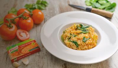 Arroz de tomate malandrinho com espinafres