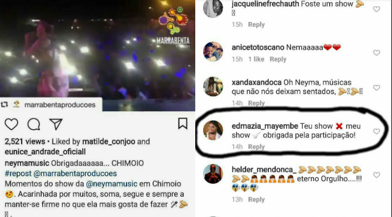 Post de Neyma e comentário de Edmázia que gerou polémica