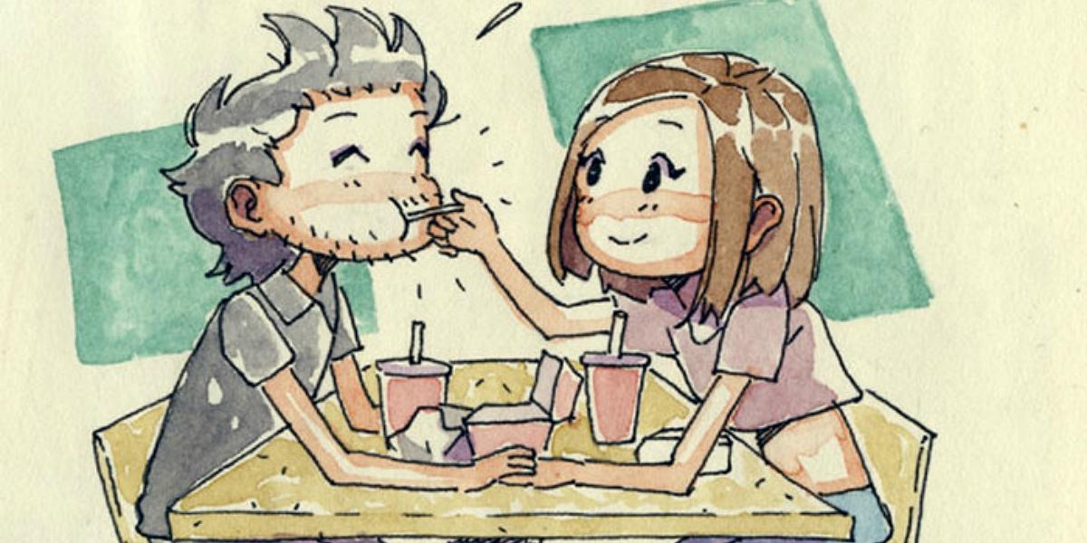 A namorada que vive no Canadá foi visitá-lo a Itália e ele fez-lhe um diário ilustrado dos dias de paixão
