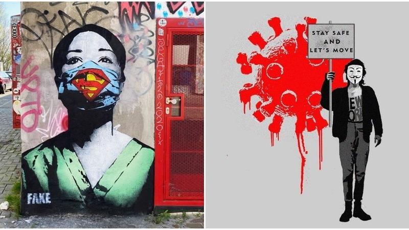 Dos heróis aos avisos, arte urbana espalhada pelo mundo alerta-nos para os perigos da covid-19