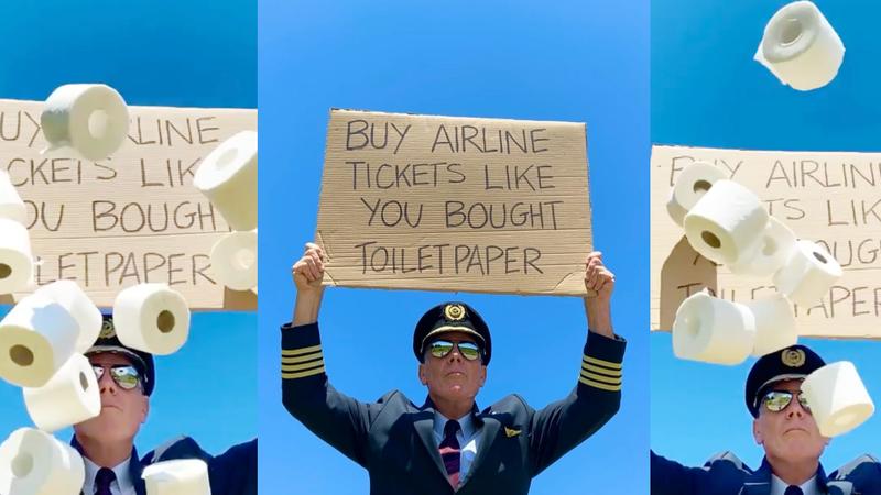 Piloto pede às pessoas que comprem passagens aéreas como compraram papel higiénico