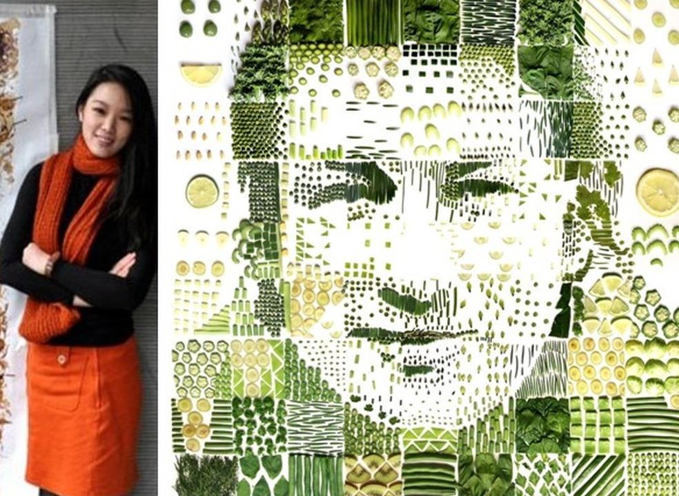 """Red"", a artista malaia que pinta o mundo com sementes e saquetas de chá"