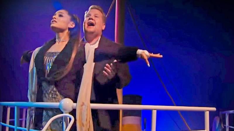 "Ariana Grande e James Corden recriam ""Titanic"" com banda sonora alternativa"