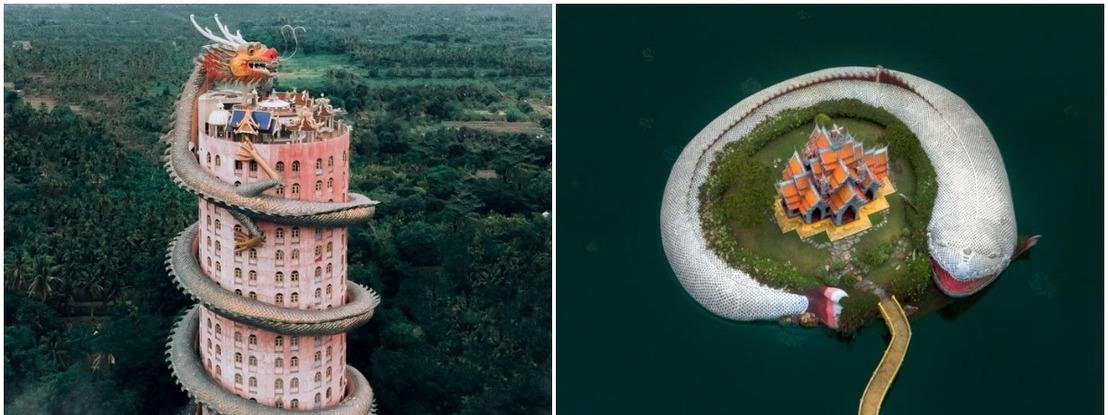 Com a ajuda de um drone, fotógrafa capta os templos mais estranhos alguma vez vistos na Ásia