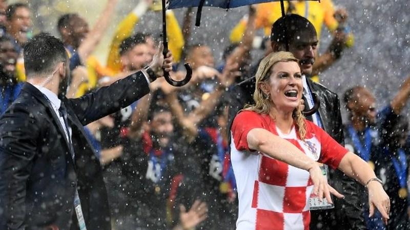 A presidente da Croácia espalhou charme, simpatia e e sorrisos, apesar da derrota na final