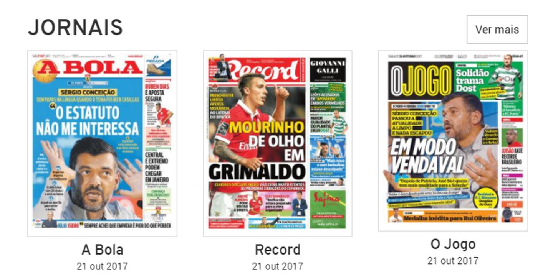 Revista de imprensa: ´Vendaval`de Sérgio Conceição ´varre` manchetes
