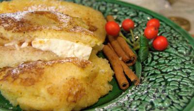 Rabanadas de Alvarinho recheadas com queijo de cabra e doce de pera