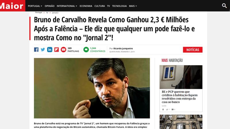 Verdade ou mentira: Bruno de Carvalho ganhou 2,3 milhões após a falência com investimento numa plataforma de negociação?