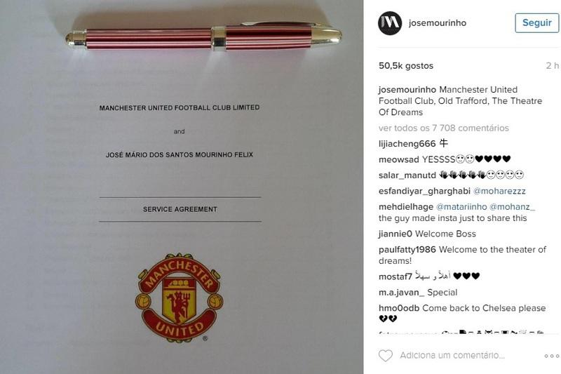 José Mourinho chega ao United... e ao Instagram