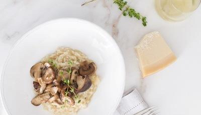 Risotto de cogumelos e tomilho