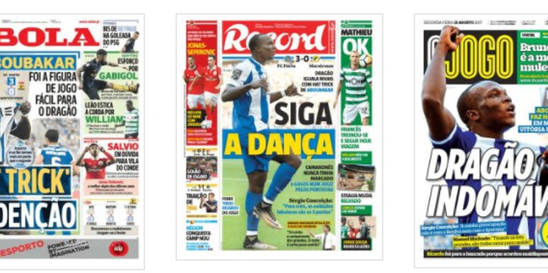 Hat-trick de Aboubakar na vitória do FC Porto é o destaque das manchetes