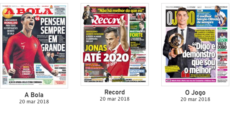 Cristiano Ronaldo e Jonas dominam as primeiras páginas