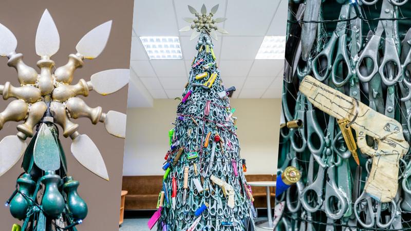 A árvore de Natal deste aeroporto na Lituânia foi feita com os objetos confiscados aos passageiros