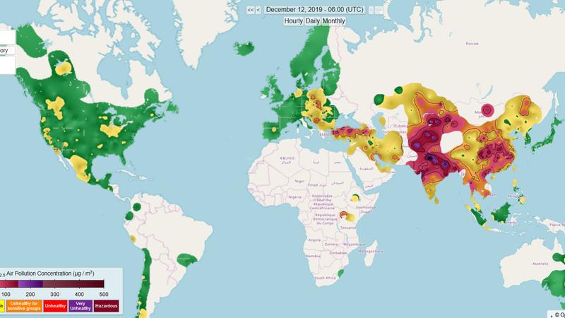 Este mapa mostra a qualidade do ar em tempo real