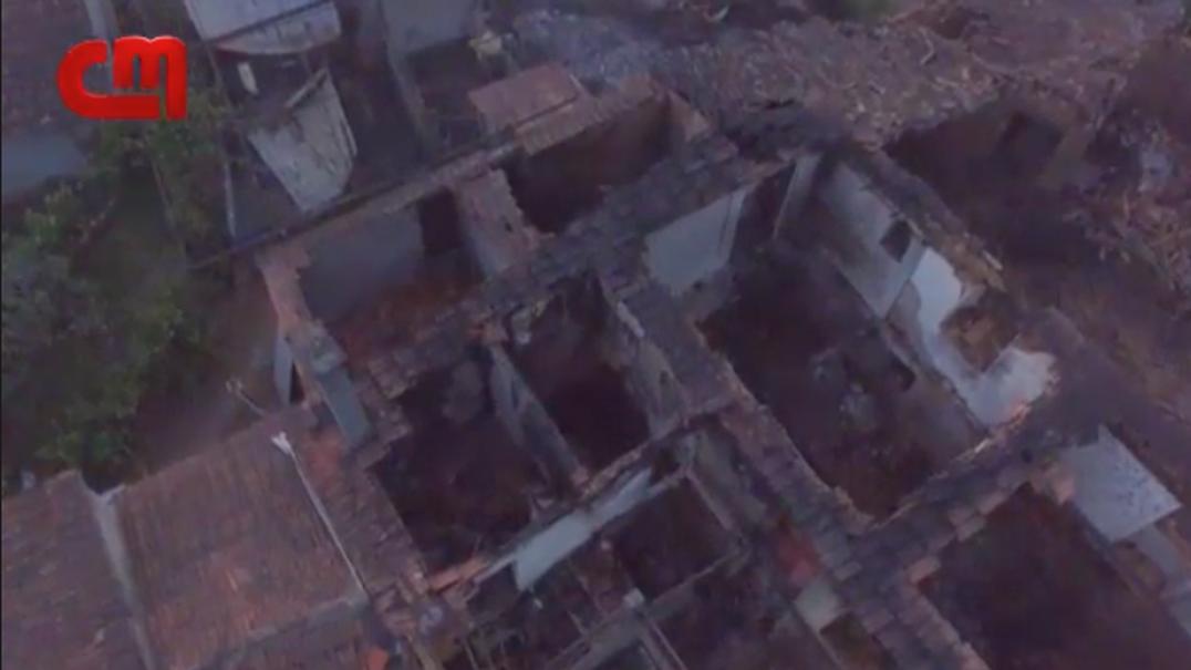 Drone da CMTV mostra rasto de destruição deixado pelas chamas