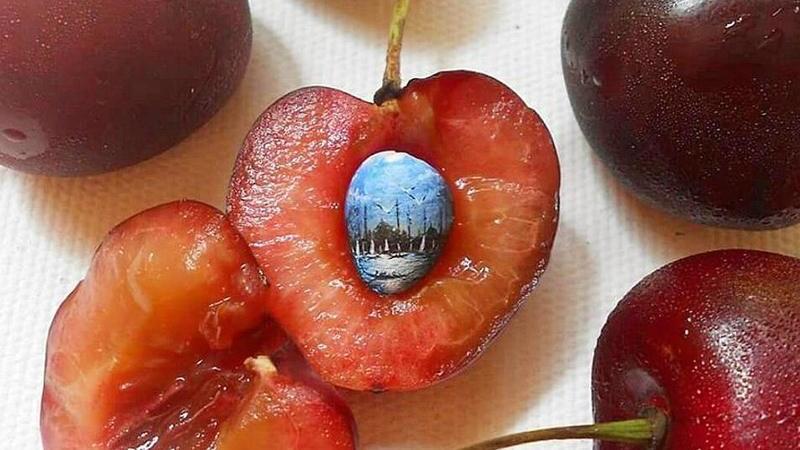 Artista turco faz de caroços, sementes e pevides telas para as suas paisagens