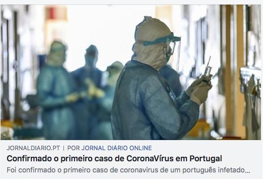 primeiro caso coronavirus portugal