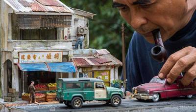 Artista malaio recria cenas da sua infância em miniatura