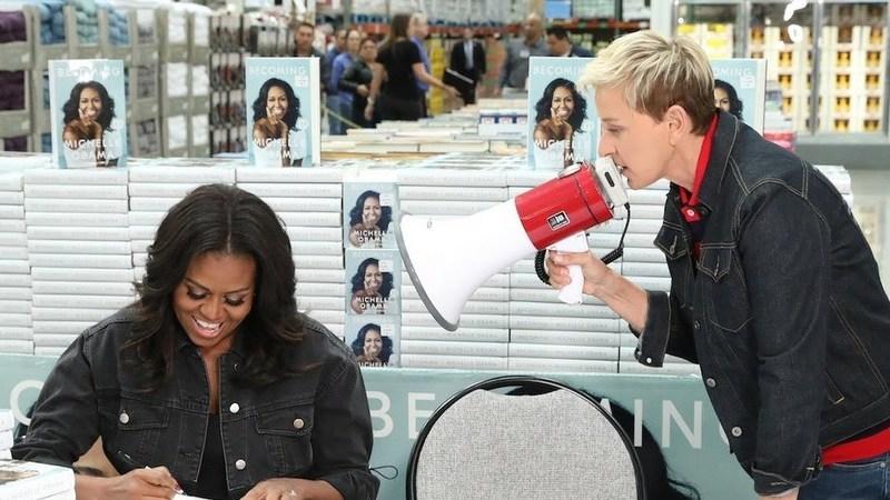 "Ellen DeGeneres tenta ""sabotar"" sessão de autógrafos de Michelle Obama"