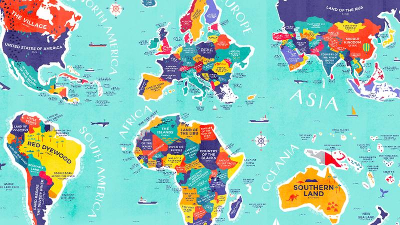 Este mapa esclarecedor mostra o significado literal do nome de cada país