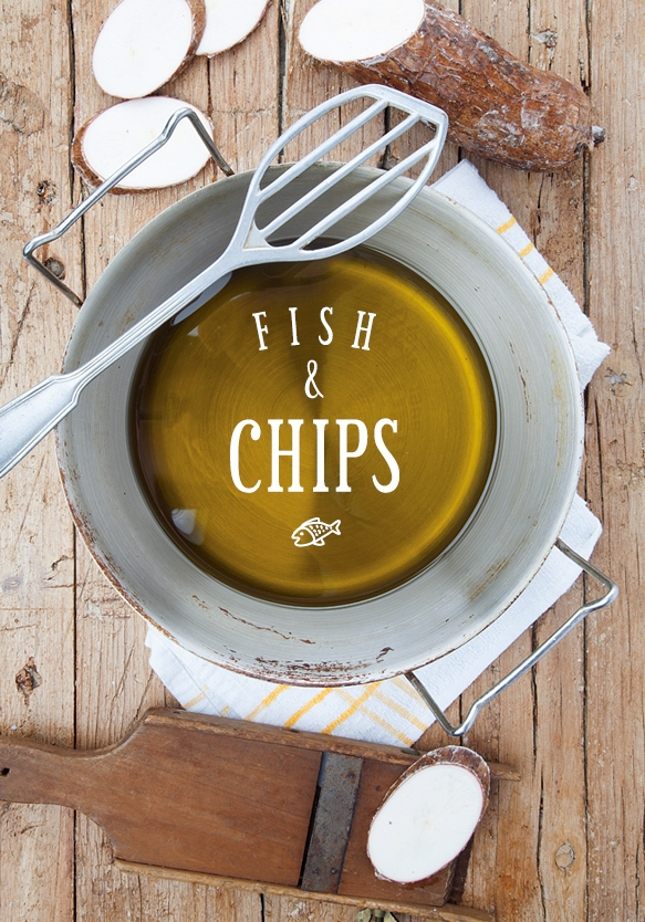 peixe gato com chips de mandioca