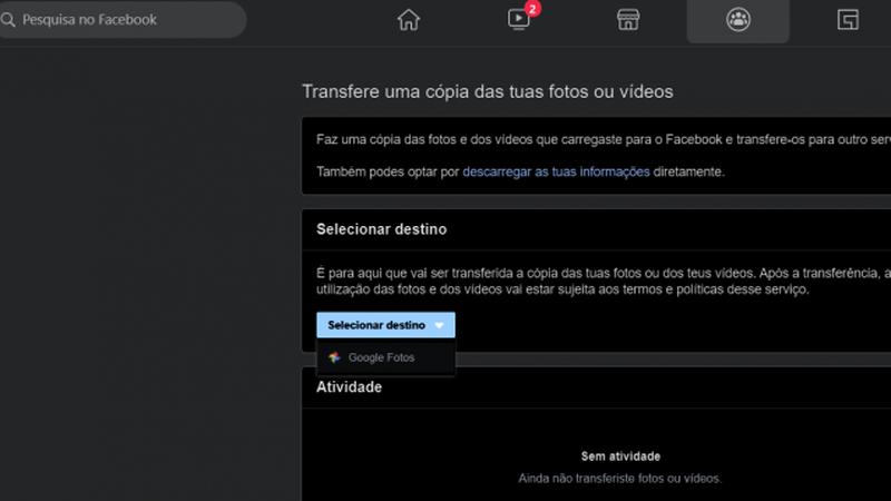 Facebook permite exportar vídeos e fotos para o Google Photos